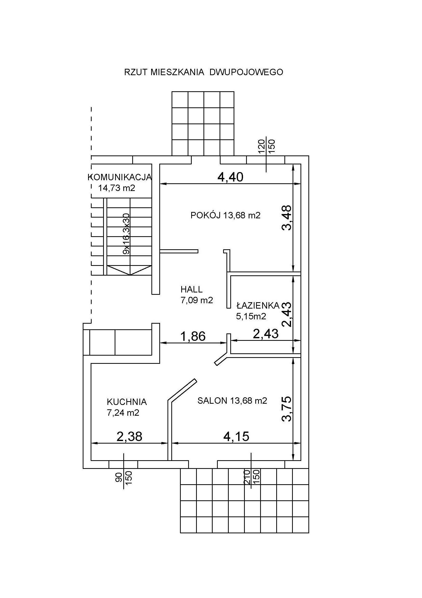 2 pokojowe 48 m2 Krajobrazowa